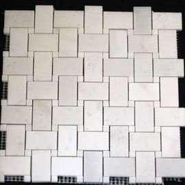 Basket de Marmol Blanco Royal, mosaicos de marmol, mosaicos de travertino, marble mosaic, split face tile, split face marble tile, cheap marble tile, marble tile price, tapetes de marmol, tapetes de travertino, mallas de marmol, mallas de travertino
