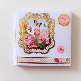 """Box weiß mit Blumenmotiv mit """"Danke Schild"""""""