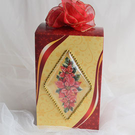 Kaffeebox rot-gold mit Weihnachtsstern