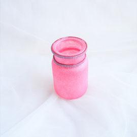 Glasvase rosa mit Strassbordüre