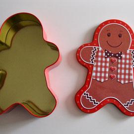 Weihnachtsdose Lebkuchenmann, geöffnet