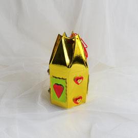 Geschenkverpackung Sechseckbeutel gold-gün-rot