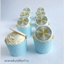 Ванильные капкейки с лимоннымкурдом ,щвейцарской меренгой, с фотопечатью