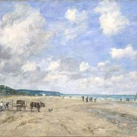 """Eugène Boudin : """"La Plage de Deauville"""", 1863 (Huile sur toile)"""
