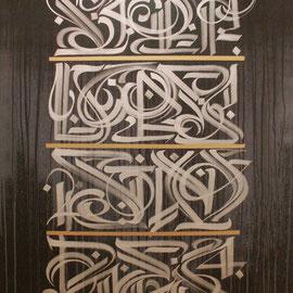 """""""Ecritures sonores"""" Minerais d'argent , acrylique sur toile . 120/190 cm 2013"""