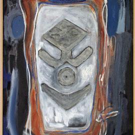Titel Nr.4: Große Türmaske Entstehungsjahr: 1996 Breite: 95 cm, Höhe: 100 cm Acryl, Pigmente Quarzsand auf Leinen