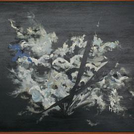 Titel Nr.5: Das Blau der Feder Entstehungsjahr: 1987 Breite: 125 cm, Höhe: 100 cm Acryl auf Leinen