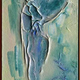 Titel Nr.9: Im Traum erschien mir ein Engel Entstehungsjahr: 1999 Breite: 50 cm Höhe: 100 cm Acryl, Baumwollvlies auf Leinen