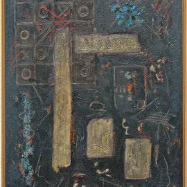Titel Nr.6: Voodoo Entstehungsjahr: 1996 Breite: 70 cm, Höhe: 90 cm Acryl, Lava, Keramik, Quarzsand auf Leinen