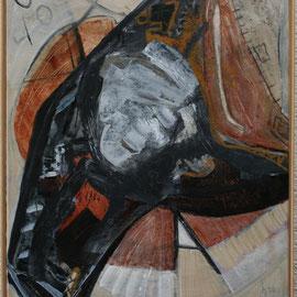 Titel Nr.2: Häuptling Entstehungsjahr: 1996 Breite: 80 cm, Höhe: 95 cm Acryl, Pigmente Quarzsand auf Leinen