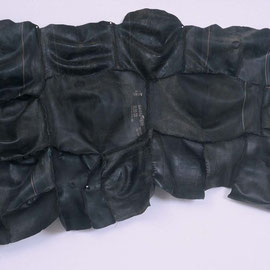 "surface tension #4 , handsewn rubber & linen thread, 44"" x 72"", 1999, collection of African American Museum, Dallas TX"