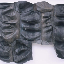 "surface tension #15 , handsewn rubber & linen thread, 100"" x 140"", 1999"