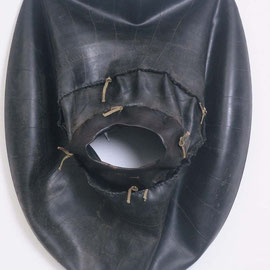 "body work #2, handsewn rubber & linen thread, 72"" x 72"", 1997"