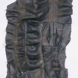 "surface tension #12 , handsewn rubber & linen thread, 100"" x 72"", 1999"