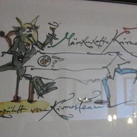 Albert Schindehütte hatte viele Grimm´s Märchen gemalt - zur Kirmes letztes Jahr. Das ganze Haus hängt voll schöner Zeichnungen.