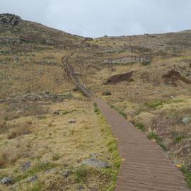Der Bohlenweg bildet den Anfang der Wanderung