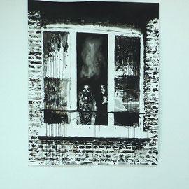 DE L'AUTRE CÔTÉ # 10 - Encre de Chine, lavis, graphite sur papier (160g) - 180 x 150 cm - 2018 - Collection privée - © Sébastien Veniat