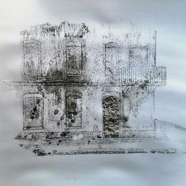 Quand les portes ne parlent plus # 7 - Monotype à l'encre noire taille-douce, gesso et ciment sur papier (200g) - 50 x 65 cm - 2020