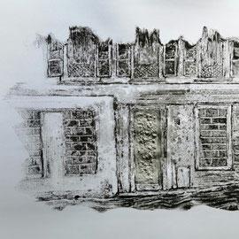 Quand les portes ne parlent plus # 1 - Monotype à l'encre noire taille-douce, gesso et ciment sur papier (200g) - 50 x 65 cm - 2020