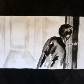 1'19'43 - Encre de Chine, lavis sur papier (200g) - 50 x 65 cm - 2019