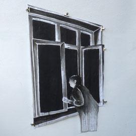 DE L'AUTRE CÔTÉ # 13 - Encre de Chine, lavis sur papier (120g) - 150 x 180 cm - 2019 - © Sébastien Veniat