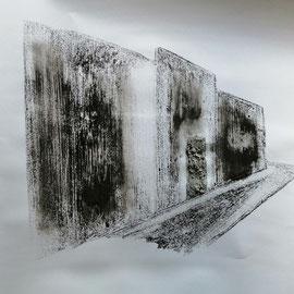 Quand les portes ne parlent plus # 4 - Monotype à l'encre noire taille-douce, gesso et ciment sur papier (200g) - 50 x 65 cm - 2020
