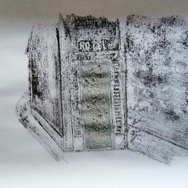 Quand les portes ne parlent plus # 5 - Monotype à l'encre noire taille-douce, gesso et ciment sur papier (200g) - 50 x 65 cm - 2020