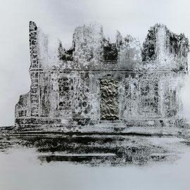 Quand les portes ne parlent plus # 10 - Monotype à l'encre noire taille-douce, gesso et ciment sur papier (200g) - 50 x 65 cm - 2020