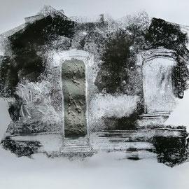Quand les portes ne parlent plus # 8 - Monotype à l'encre noire taille-douce, gesso et ciment sur papier (200g) - 50 x 65 cm - 2020