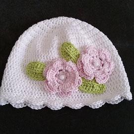 """Mütze """"elegant"""" aus Baumwolle, ideal für Festlichkeiten, Taufe, Hochzeit, etc. auch für Neugeborene geeignet"""