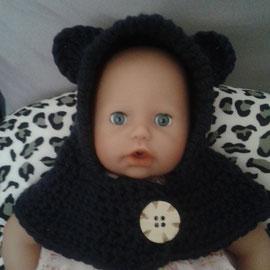 """Schalmütze """"Bär"""" aus kuscheligem Schurwollmischgarn, nicht kratzend und der Knopf lässt sich öffnen zum leichteren Anziehen bei Babys, ist aber auch als Schlupfmütze möglich"""