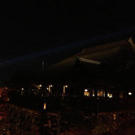 清水寺の上空を世界糖尿病デーのブルーライトが照らしています