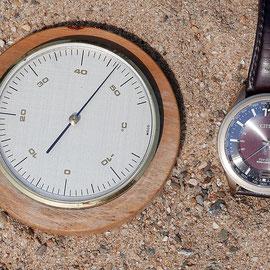 Temperaturmessung auf der Sandspielfläche, gemessen wurden 46,5 Grad, Aufnahme-Datum 26.06.2019