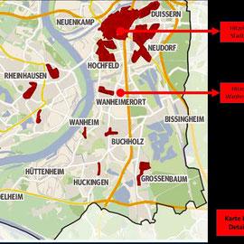Quelle: Klimaanalyse der Stadt Duisburg von 2010, textliche Ergänzungen und Markierungen von Heinz Kuhlen