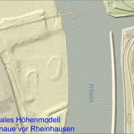 Quelle: Land NRW (2019)  dl-de/by-2-0 (www.govdata. de/dl-de/by-2-0),  Digitales Höhenmodell, deutlich erkennbar die ehemaligen Auskiesungsflächen mit Senken und der ehemaligen Trajekt-Trasse.
