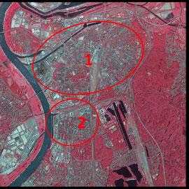 Quelle: Land NRW (2019)  dl-de/by-2-0 (www.govdata. de/dl-de/by-2-0), textliche Ergänzungen und Markierungen von Heinz Kuhlen, die mit 1 und 2 gekennzeichneten Flächen besitzen einen wesentlich geringeren Grünflächenanteil.