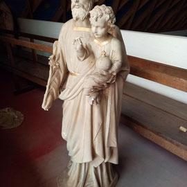 statue en plâtre Saint-Joseph, environ 1,40 m de hauteur avant restauration