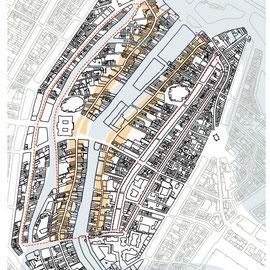 Amsterdam centrum positie oude dijken langs de Amstelmond