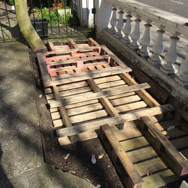 front garden - reclaimed pallets forming raised beds...