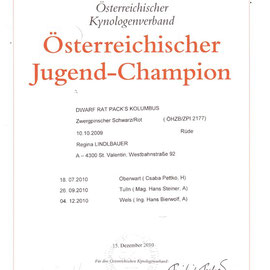 Dwarf Rat Pack's Kolumbus Austrian Youth Champion - Certificate