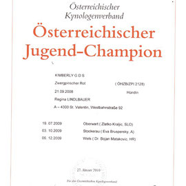 Kimberly G D S Austrian Youth Champion - Certificate
