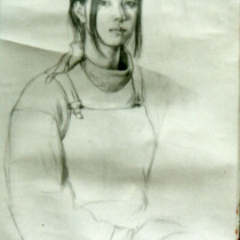 "Self-Portrait 18""x 24"" , Pencil on paper / 自画像 46x 61cm, 素描,1994"