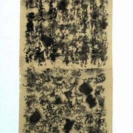 "Study Chinese Calligraphy 04, 20"" x 40""  / 学文化04,  50 x 100cm, 2011"