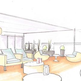 Entwurfsskizze für eine Penthousewohnung in Überlingen