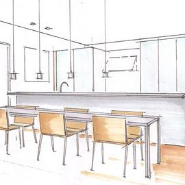 Entwurfsskizze eines Essbereichs für eine Penthousewohnung in Überlingen
