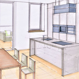Möblierungsskizze für einen Kochbereich in der Schweiz