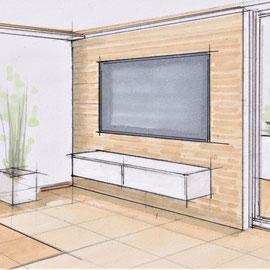 Möblierungsskizze für einen Wohnbereich in der Schweiz