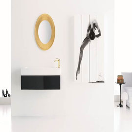 cuisine intérieur design, salle de bain noir miroir or   vasque plan de travail blanc
