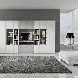 cuisine intérieur design toulouse living salon rangement blanc et gris épuré moderne tendance meuble de télévision