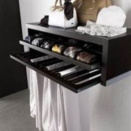 cuisine intérieur design toulouse dressing ouvert tendance moderne bois rangements tiroir à cravate détail finition